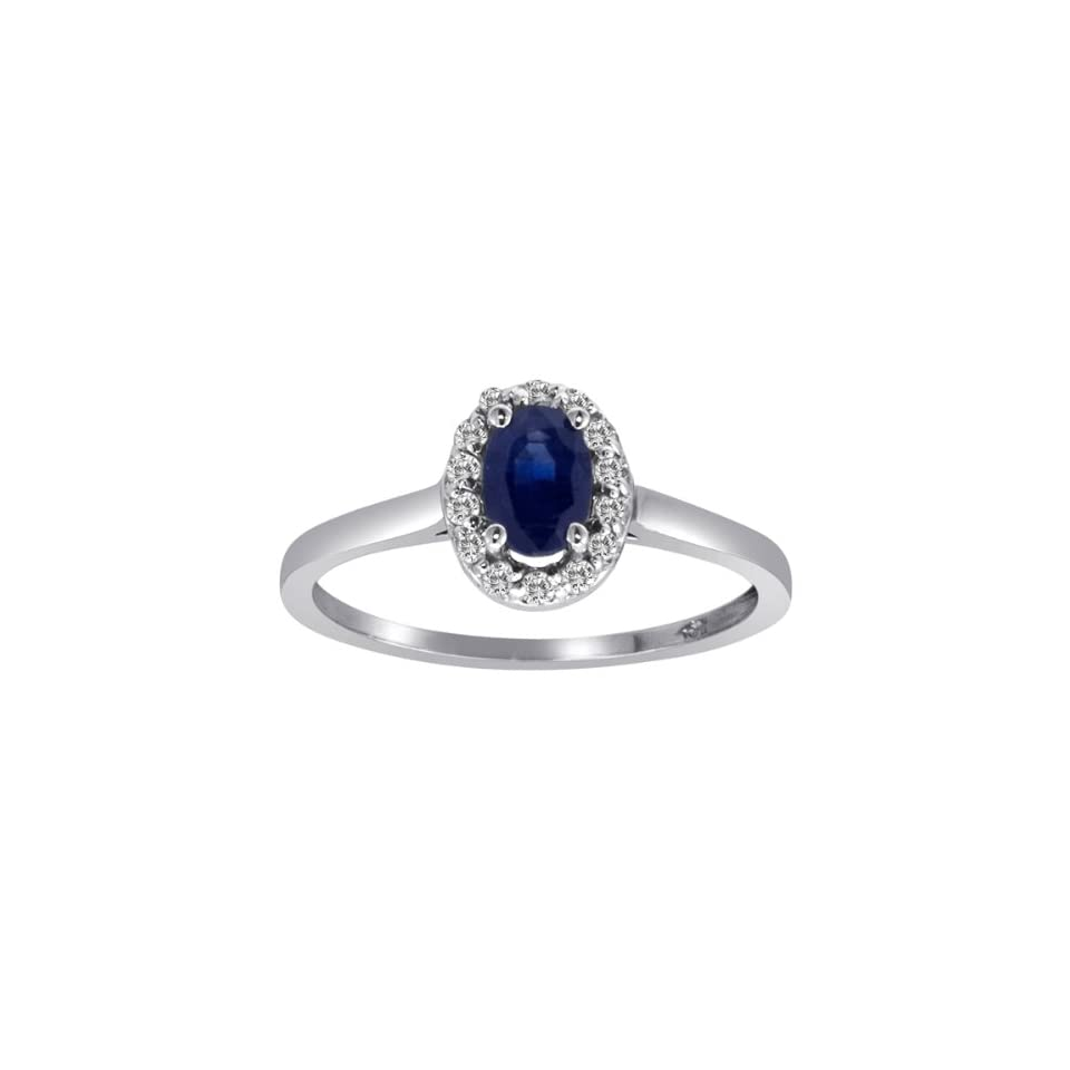 Sterling Silver Round Diamond & Oval Sapphire Ring (1 cttw