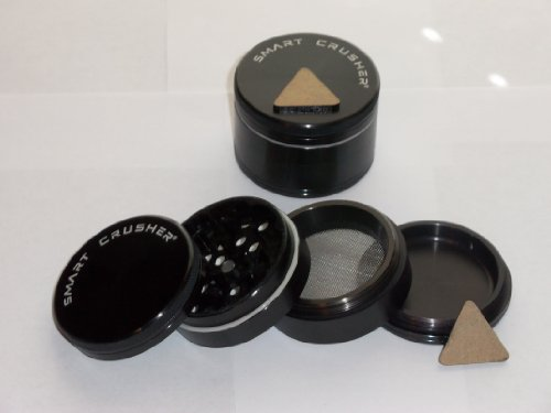 New Design!! BLACK SMART CRUSHER 4PCS Space CNC Aluminum Magnetic Pollen Herb Grinder