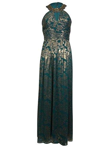 Cachet Women's Beaded Keyhole Halter Metallic Chiffon Dress (4