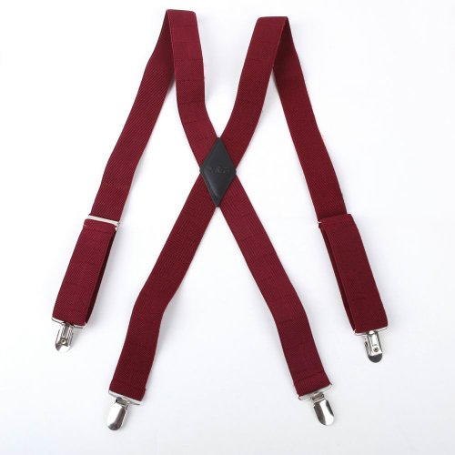 Red Checkered Nylon Hold-Up X-Back Clip Genuine Leather Suspenders Y&G Fashion Suspenders Sp2015 One Size Wine
