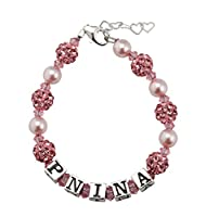 Personalized name Swarovski Pink Crystals and Shamballa beads Bracelet