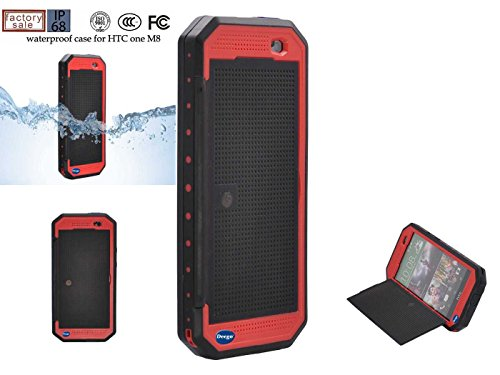 Nancy'S Shop Dot View Matrix Case Cover For Htc One M8 Waterproof Dirtproof Snowproof Shockproof Skin Hard Phone Shell For Htc One M8 (Red)