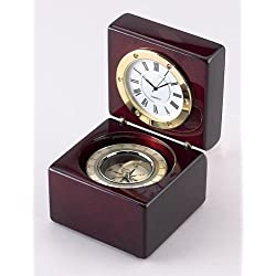 Square Wood Box w/ Clock & Compass, 2.75, Our Square Wooden Box with Clock and Compass Is a Fantastic Recognition Award. Inside the Square Hinged Rosewood Finish Box Is a Gold Accented Compass and a Gold Accented Clock with Quartz Movement. The Clock Sits