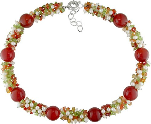 Carnelian, Quartz, and Pearl Bead Necklace