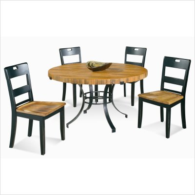 Bassett Mirror D2051-701B / D2051-701T / D2051-S800 Westchester 5 Piece Round Dining Table Set in Gunmetal