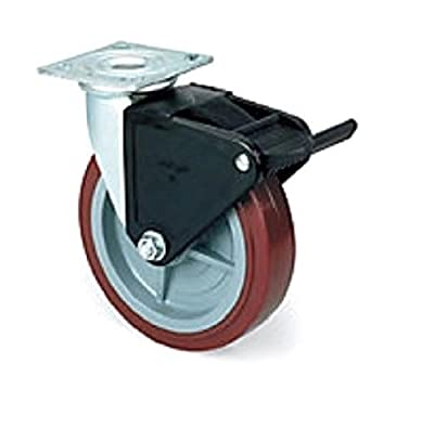 "Colson Swivel Plate Caster with Non-Marking Polyurethane 8"" x 2"" Wheel and Brake"