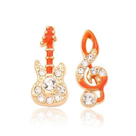 Treasured Charms & Beads Gold Plated CZ Guitar & Music Note Stud Earrings