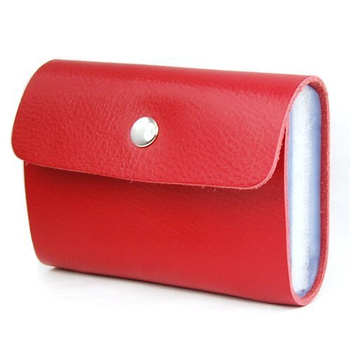 SODIAL(TM) Red Soft Premium Leather Wallets Credit Card Holder ID Business Case Purse Unisex Men Women