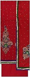 Gunjan Women's Cotton Silk Unstitched Salwar Suit (Red)