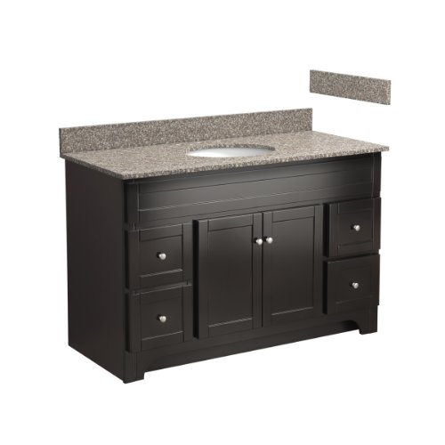Foremost COEAT4821D-8B 48-Inch Columbia Bathroom Vanity Combo with Burlywood Granite Top, Pre-Attached Undermount Sink and 8-Inch Centers, Espresso