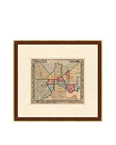 Map Antiquities Antique Map Of Baltimore, 1860, Multi