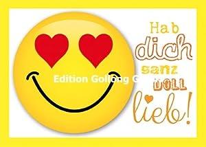 Postkarte * Smiley * Hab Dich ganz doll lieb: Amazon.de