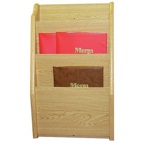 Menu Holder - 3 Pockets Light Oak, 14Wx3-3/4Dx24H 1 Each by Wooden Mallet
