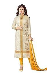 V-Kart Women's Cotton Unstitched Dress Material (Vkart_303_Cream_Free Size)
