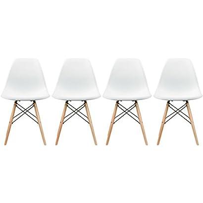 Surprising 2Xhome Set Of Four 4 White Eames Style Side Chair Creativecarmelina Interior Chair Design Creativecarmelinacom