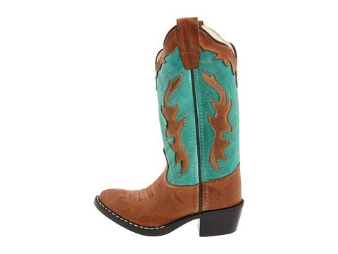 Old West Turquoise Childrens Girls Leather J Toe Cowboy Western Boots 11.5 D