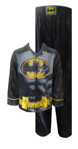 Dc Comics Batman Shattered Logo Button Front Flannel Pajama For Boys (6/7) front-1029391