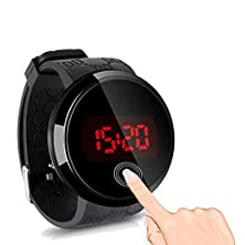 buy Unisex Hot Stylish Black Men Led Touch Screen Day Date Silicone Wrist Watch B