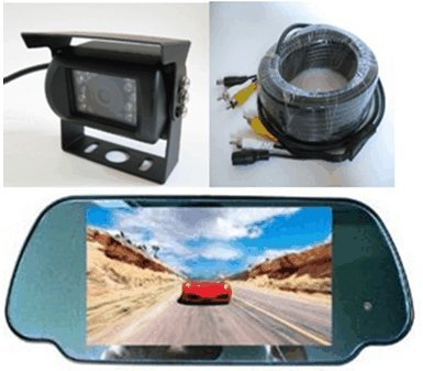 "Rear View Mirror Camera System-7"" Lcd Reverse Monitor & Color Ccd Rear View Backup Camera With 135° View, Infrared Night Vision, Surface Mount With Rain Shield, Free Bonus Of 32 Ft Rca Extended Cable. - By Yantech Usa"