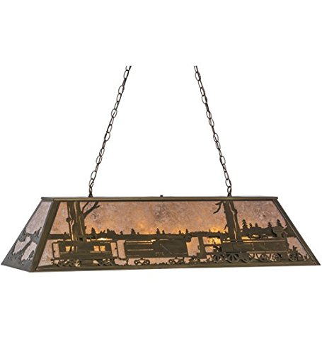 Meyda Tiffany Custom Lighting 81347 Train 9-Light Oblong Pendant, Antique Copper Finish with Silver Mica Panels