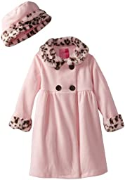 Good Lad Baby Girls\' Fleece Coat with Leopard Fur Trim, Pink, 18 Months
