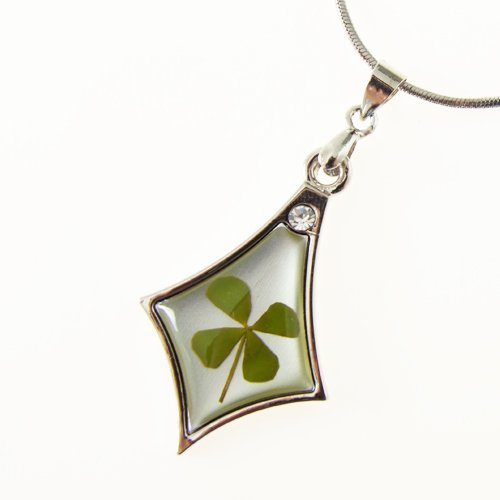 Real Shamrock Leaf Diamond-shaped Pendant Sterling Silver Necklace