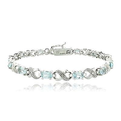 Silver Tone Gemstone & Diamond Accent Infinity Bracelet