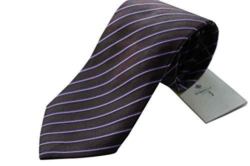 luigi-borrelli-napoli-italy-mens-tie-luxury-100-silk-brown-purple-stripe