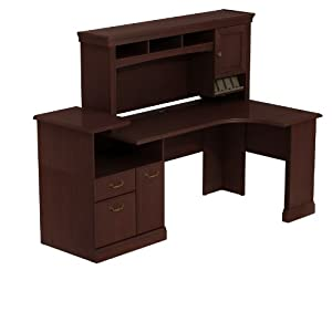 Bush Business Furniture Syndicate Expandable Corner Workstation with Hutch Storage, Harvest Cherry