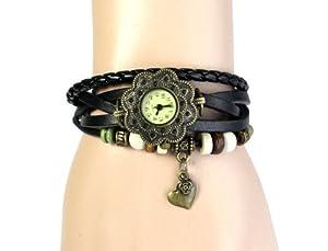 Top Seller Hot Sale Fashion Retro Heart Pendant Leather Weave Ladies Bracelet Quartz Wrist Watch