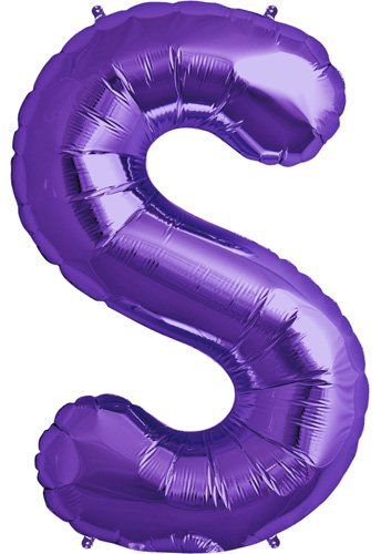 Letter S - Purple Helium Foil Balloon - 34 inch