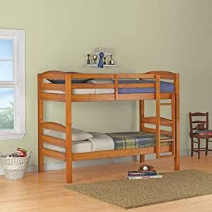 Sturdy Mainstays Twin Over Twin Wood Bunk Bed, Multiple Finishes (Pine)