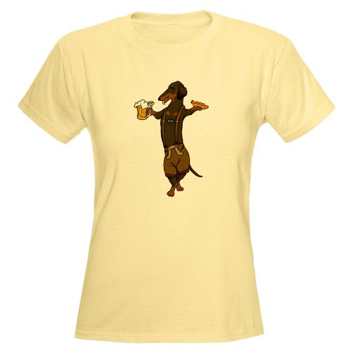 Cafepress Bt Lederhosen Doxie Women'S Light T-Shirt - L Light Yellow
