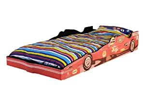 Children's F1 Racing Car Bed Frame with Gorgeous Printed Design - EU Single Size