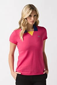 Short Sleeve Color Block Pique Polo