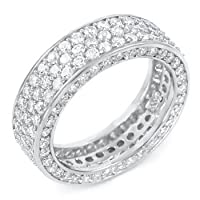 Sterling Silver Three Lines Cubic Zirconia Eternity Round CZ Ring Sz 8