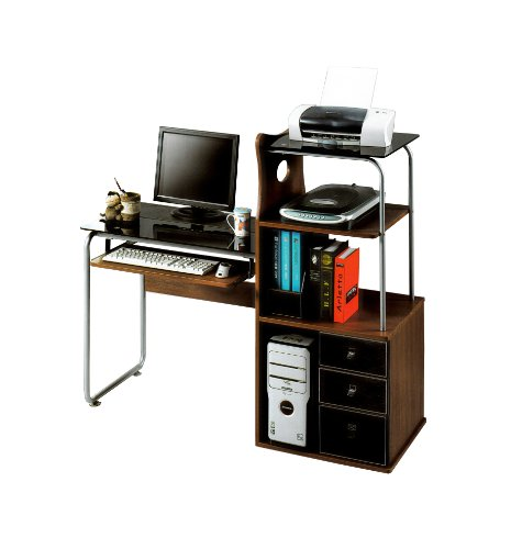 Home Office Computer Desk Study Table With Drawers & Bookshelf (W9)