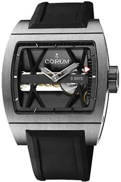 Corum Ti-Bridge Black Dial Black Rubber Strap Mechanical Mens Watch 10710104F3710000