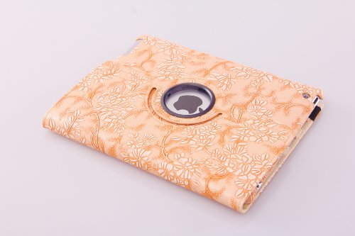 360 Degree Rotating Stand (Orange Flower) Luxury Leather Smart Case Cover Automatically Wake up Sleep for Apple the New ipad 3