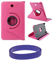 DMG Full 360 Rotating Flip Book Cover Case Stand for Samsung Galaxy Tab 3 T211 with DMG Wristband -Pink