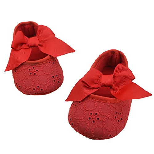 Franterd Infant Girls Prewalker Ribbon Bowknot Soft Bottom Shoes