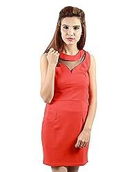 Envy Women's Blended Round Neck Dress (Orange, Free Size)