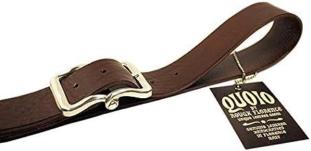 QUOIO By Rough Florence, Cintura di cuoio con fibbia doppio ponte finitura argento, Girovita 105 = Lunghezza totale 120 cm