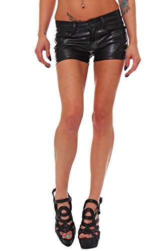 10240 Fashion4Young Damen Sexy Shorts in Leder-Optik Stretch-Mix Hotpants in Schwarz 5 Größen