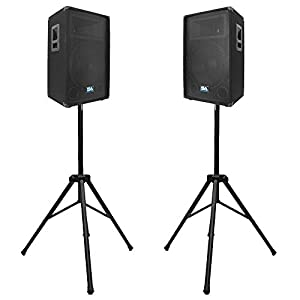 "Seismic Audio - Pair of 15"" PA DJ SPEAKERS with TWO TRIPOD SPEAKER STANDS PRO AUDIO - Band, Bar, Wedding"