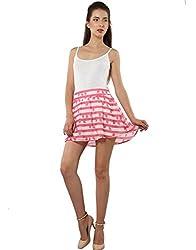 XnY Women's Skater Skirt (SK 1020093 C_Pink White_16)