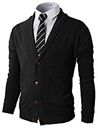 H2H Mens Basic Shawl Collar Knitted Cardigan Sweaters with Ribbing Edge BLACK US S/Asia M (CMOCAL07)