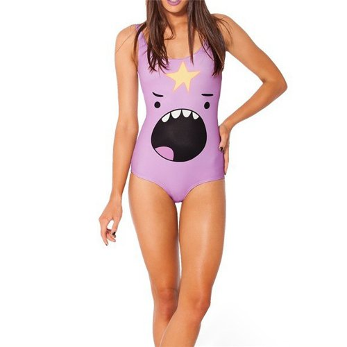 New Arrival Women's Purple Shark Digital Print One Piece Swimsuit Swimwear Bikini image
