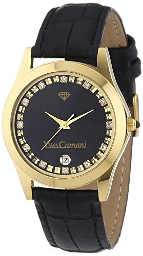 Yves Camani Women's Twinkle Quartz Watch with Black Dial Analogue Display and Black Leather Bracelet 302-GSG