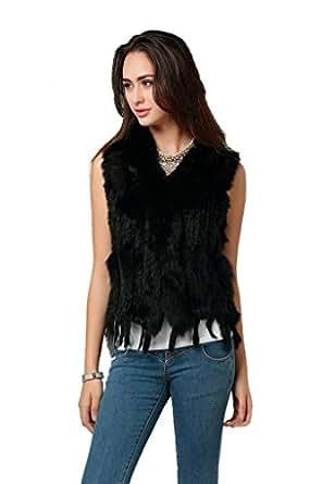 Ferrand-Women's Real Rabbit Knitted Fur Vest Gilet&Fox Fur Collar